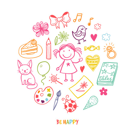 Doodle greeting card with happy girl and her toys and tools Vectores