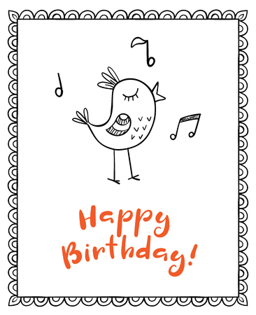 song bird: Happy birthday vector greeting card with doodle singing bird Illustration