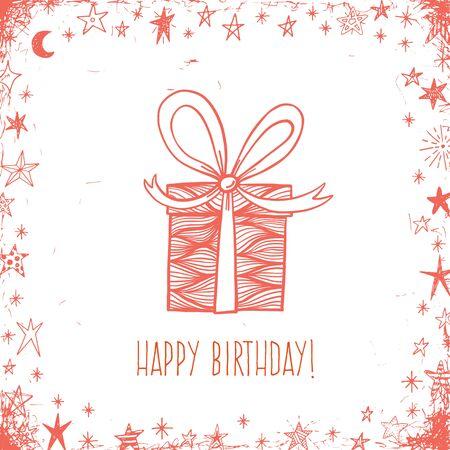 낙서 선물 상자 생일 인사말 벡터 카드