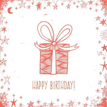 gift ribbon: Happy birthday greeting vector card with doodle gift box