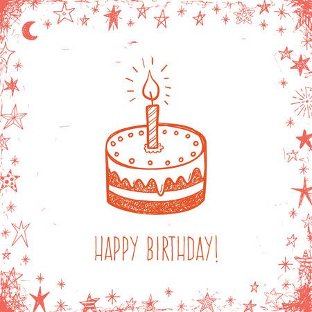 cartoon birthday cake: Happy birthday greeting card with doodle cake Illustration