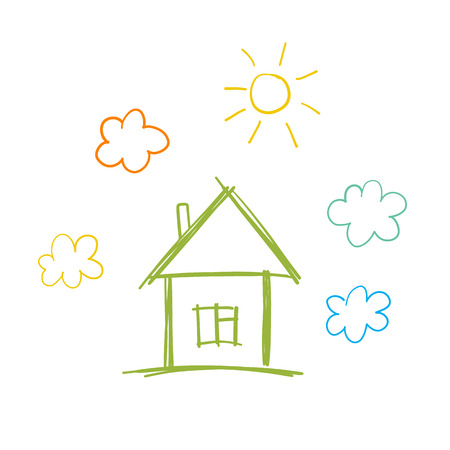 Doodle children drawing with house, sun and clouds
