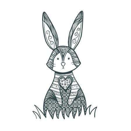 Dessin de lapin pour la page de coloration. Lapin décoratif, lapin de Pâques.