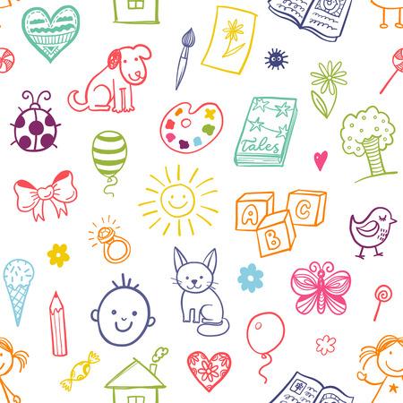 bimbi che giocano: Reticolo senza giunte con i bambini doodle. Vettoriali