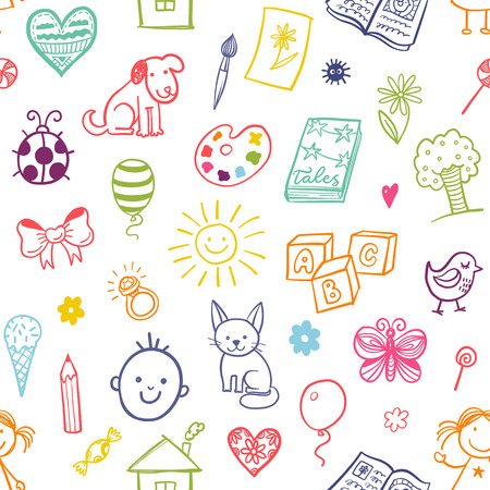 cat toy: Seamless pattern with doodle children drawing.