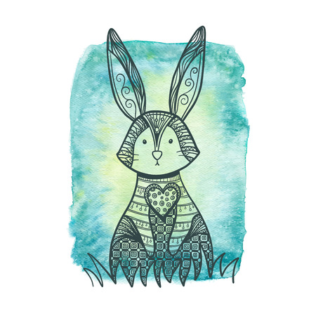 coney: Drawing rabbit on a watercolor background. Decorative Rabbit, Easter Bunny.