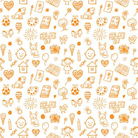 Nahtlose Muster mit Doodle Kinder zeichnen. Standard-Bild - 53301542