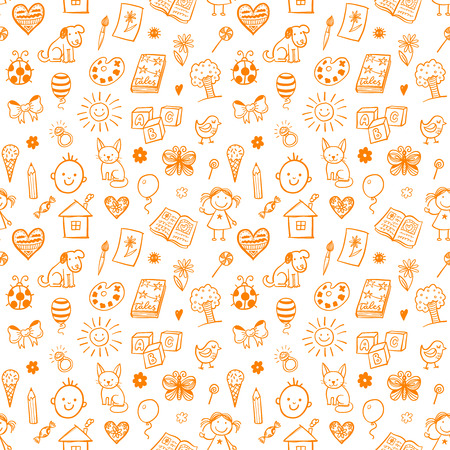 Seamless pattern with doodle children drawing. 免版税图像 - 53301542