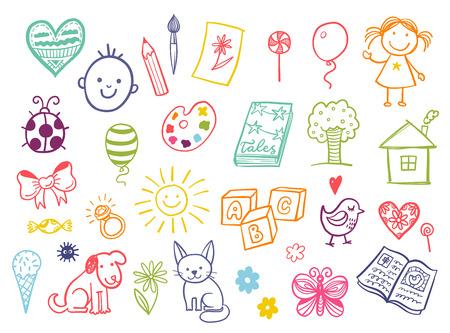dessin coeur: enfants drôles dessin ensemble de griffonnage. Illustration