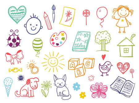 Funny children drawing doodle set. Stock Illustratie
