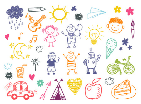 baby girls smiley face: Happy kids doodle set, children drawings