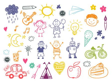 Happy kids doodle set, children drawings