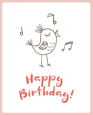 singing bird: Happy birthday greeting card with doodle singing bird