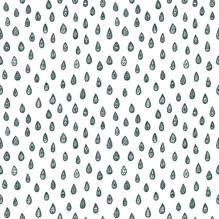 rainy sky: Adult coloring book page. seamless pattern with raindrops