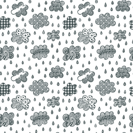 rainy sky: Adult coloring book page with clouds and raindrops Illustration
