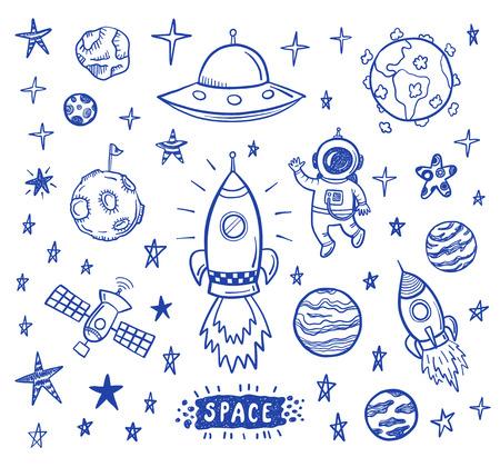 cosmonautics day: Vector doodle spase set