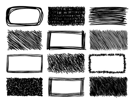 hand drawn frame: hand drawn scribble squares, grunge vector frames