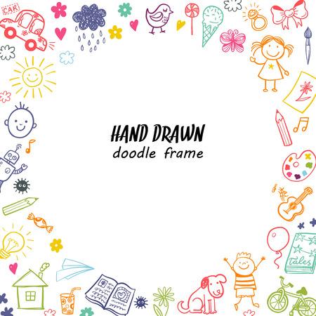 Hand drawn doodle children drawing round frame 免版税图像 - 54268584