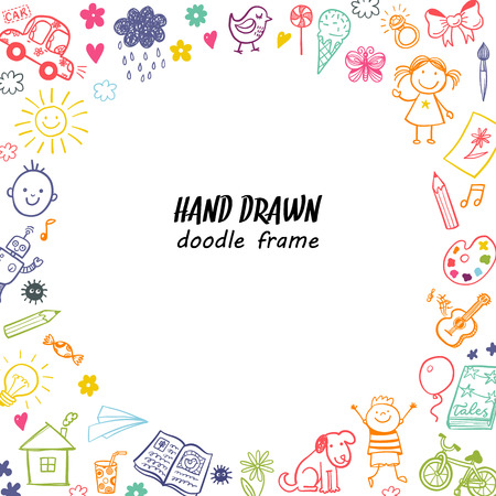 Hand drawn doodle children drawing round frame