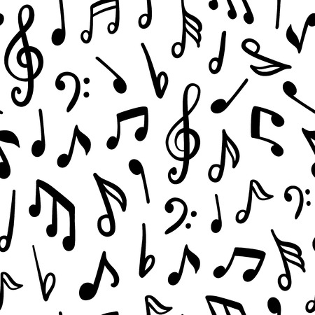 Seamless vector pattern with music notes. Stock Illustratie