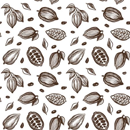 cacao: sin patrón, con granos de cacao bosquejo Vectores