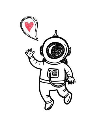 Vector illustration with doodle astronaut