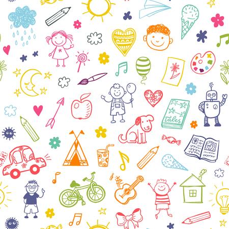 estate: Reticolo senza giunte con i bambini doodle. Vettoriali