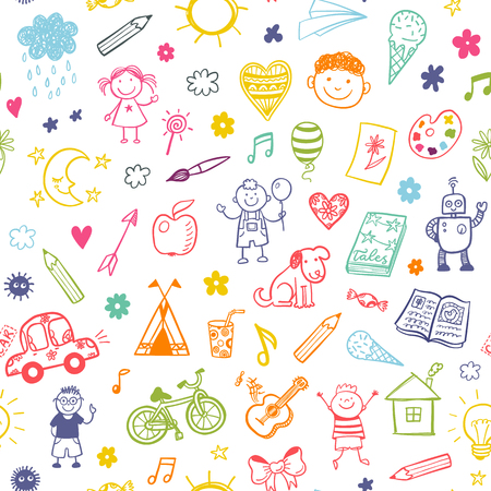 smiley: Seamless pattern with doodle children drawing.
