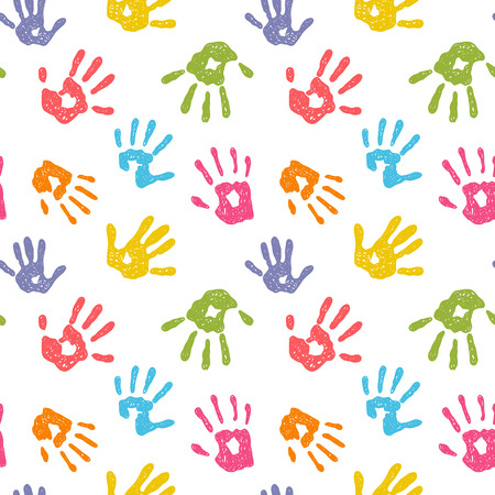 hand prints: Funny vector seamless background with colorful hand prints