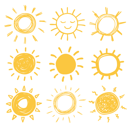 smiling sun: Funny vector doodle suns. Hand drawn set.