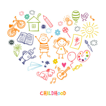 Happy childrens drawing vector doodle heart  イラスト・ベクター素材