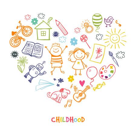 Gelukkige kinderen tekenen vector doodle hart