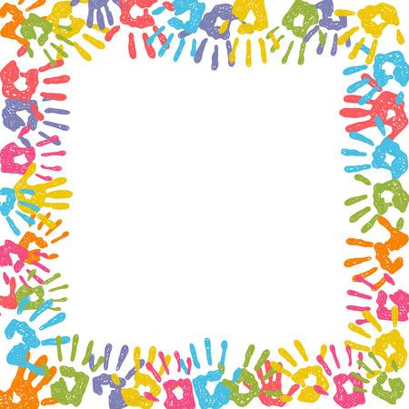 hand print: Square vector hand print frame