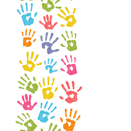 kids painted hands: Seamless vertical border with hand prints Illustration