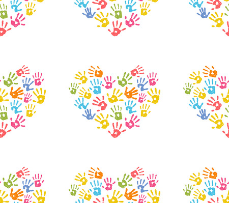 hand prints: Seamless pattern with hand prints in a shape of heart