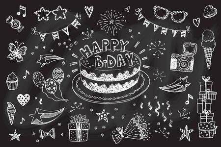 cartoon flower: Happy birthday hand drawn sketch set with doodle cake, balloons, fireworks and party attributes