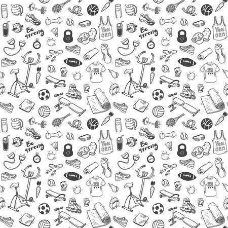 Naadloos patroon met sport en een gezonde levensstijl elementen