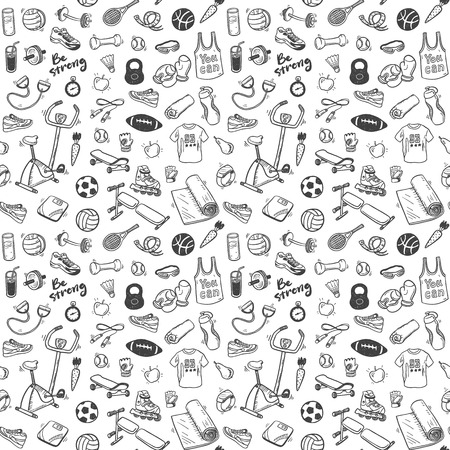 Seamless pattern  with sport and healthy lifestyle elements 矢量图像