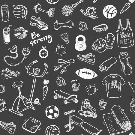 Seamless pattern  with sport and healthy lifestyle elements Ilustração