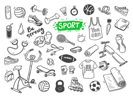 illustration set of fitness and sport sign and symbol doodles elements.
