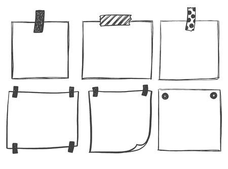 Schets schrijfpapier voor berichten in te stellen Stock Illustratie