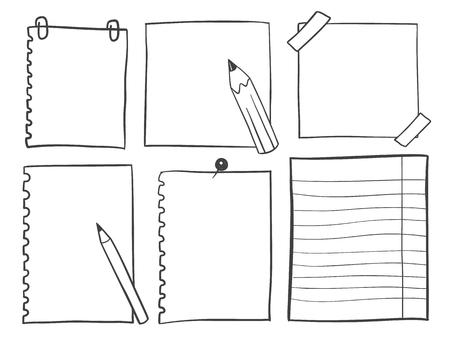 Hand drawn sketch notepaper for messages set Illustration