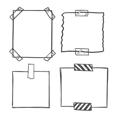 notepaper: doodle notepaper for messages set