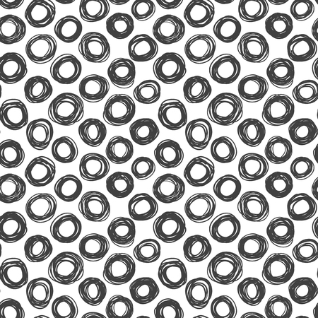 abstract scribble: Abstract scribble seamless texture, black and white circles pattern Illustration