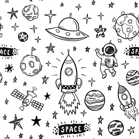 avion caricatura: Modelo inconsútil del espacio del doodle Vectores