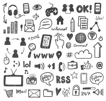 Social media sketch icons set Stock Illustratie
