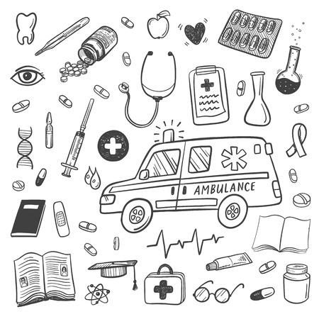 Gezondheidszorg en medicijnen doodle icons set