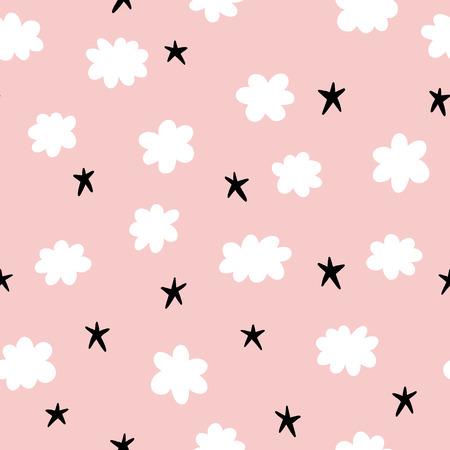 Nette nahtlose Muster mit Sternen und Wolken Standard-Bild - 54625086