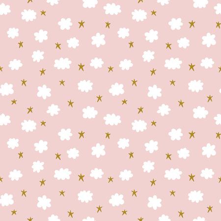 星と雲かわいいシームレス パターン