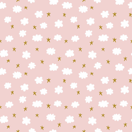 Cute seamless pattern with stars and clouds